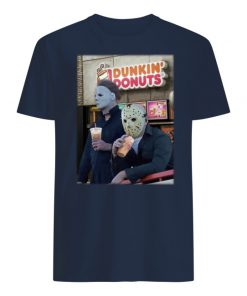 Michael myers and jason voorhees drink dunkin' donuts men's shirt