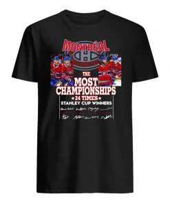 Montreal the most championships 24 times stanley cup winners signatures men's shirt