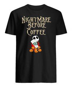 Nightmare before coffee skellington hug starbucks men's shirt