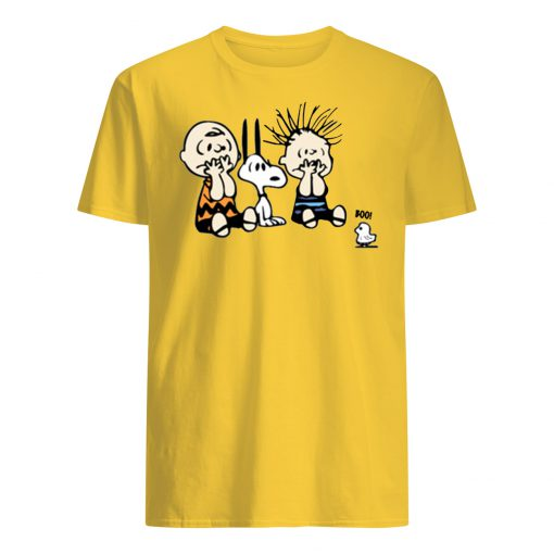 Peanuts charlie brown and snoopy halloween boo mens shirt