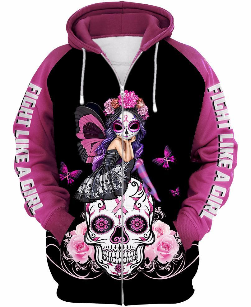 Skull pink warrior fight like a girl breast cancer awareness 3d zip-up hoodie