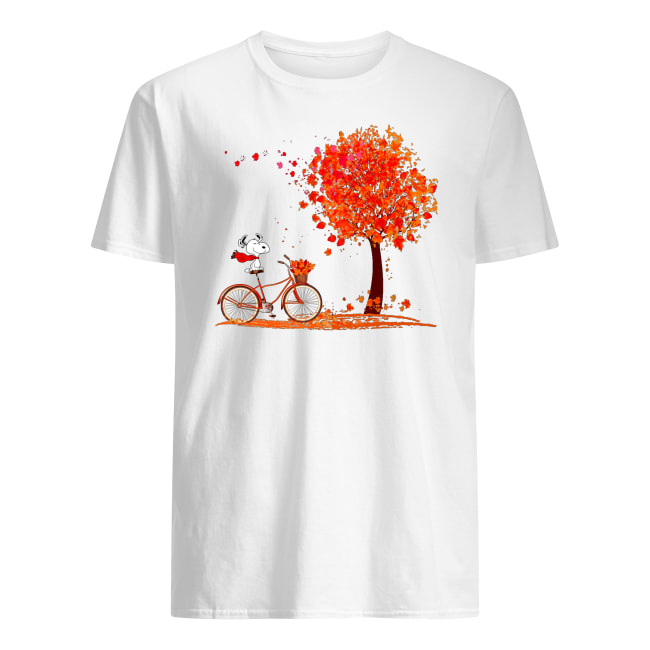 Snoopy riding a bicycle hello autumn men's shirt