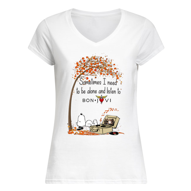 Snoopy sometimes I need to be alone and listen to bon jovi women's v-neck