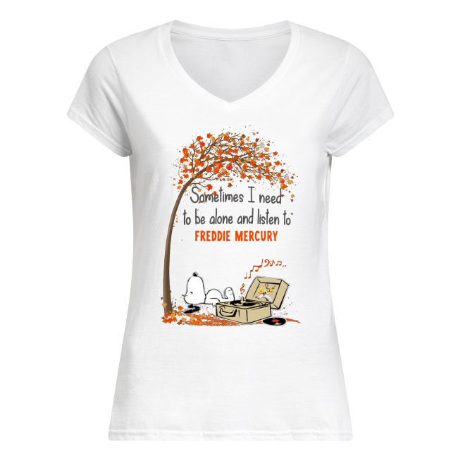 Snoopy sometimes I need to be alone and listen to freddie mercury women's v-neck