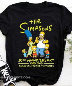 The simpsons 30th anniversary 1989-2019 thank you for memories shirt