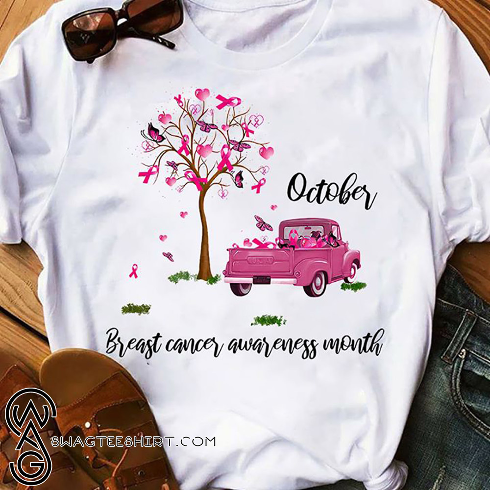 Tree of pink ribbons october is breast cancer awareness month shirt