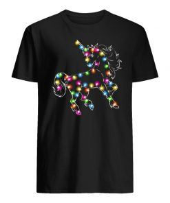 Unicorn christmas lights men's shirt