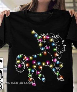 Unicorn christmas lights shirt