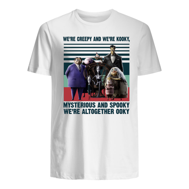 Vintage the addams family we're creepy and we're kooky mysterious and spooky we're altogether ooky men's shirt