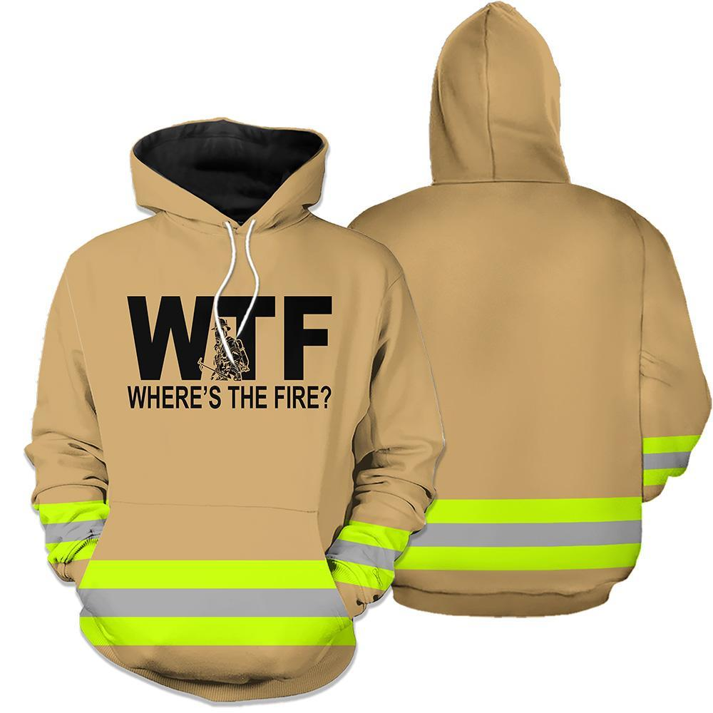 Wheres the fire firefighter 3d hoodie - brown