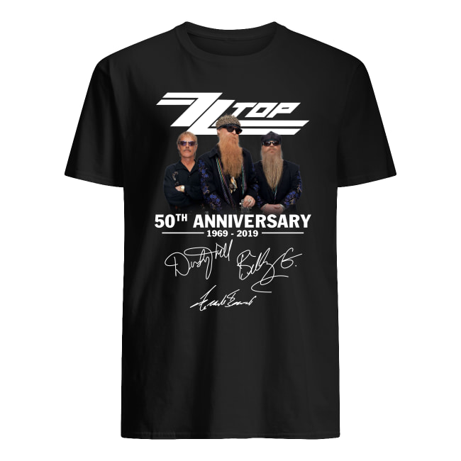 ZZ top 50th anniversary 1969 2019 signatures men's shirt
