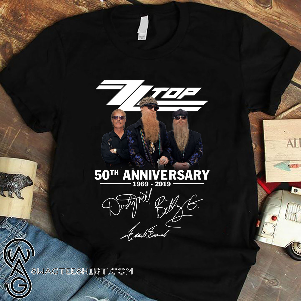 ZZ top 50th anniversary 1969 2019 signatures shirt