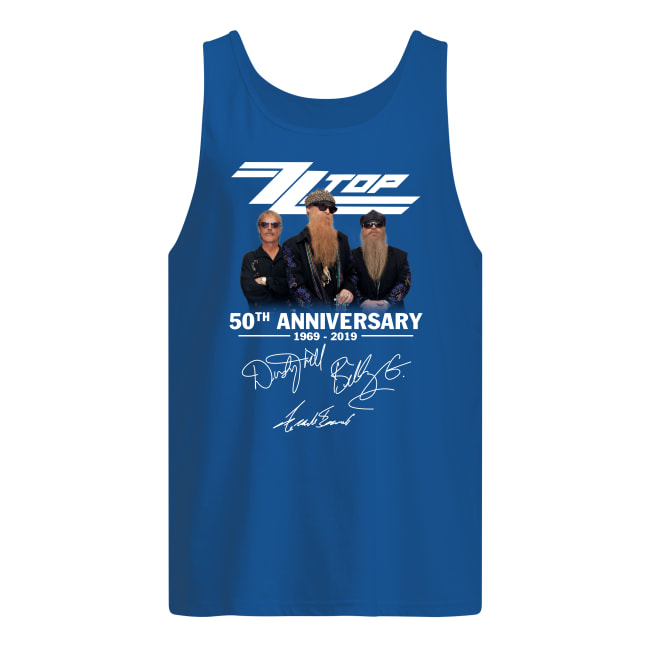 ZZ top 50th anniversary 1969 2019 signatures tank top