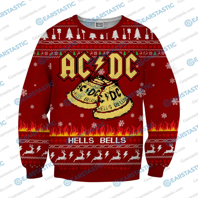 ACDC hells bells ugly christmas sweater - red
