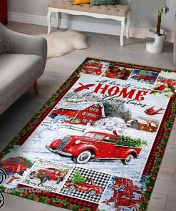 All hearts come home for christmas red truck christmas living room rug