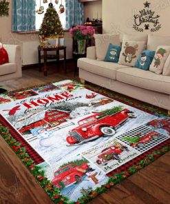 All hearts come home for christmas red truck christmas living room rug 3