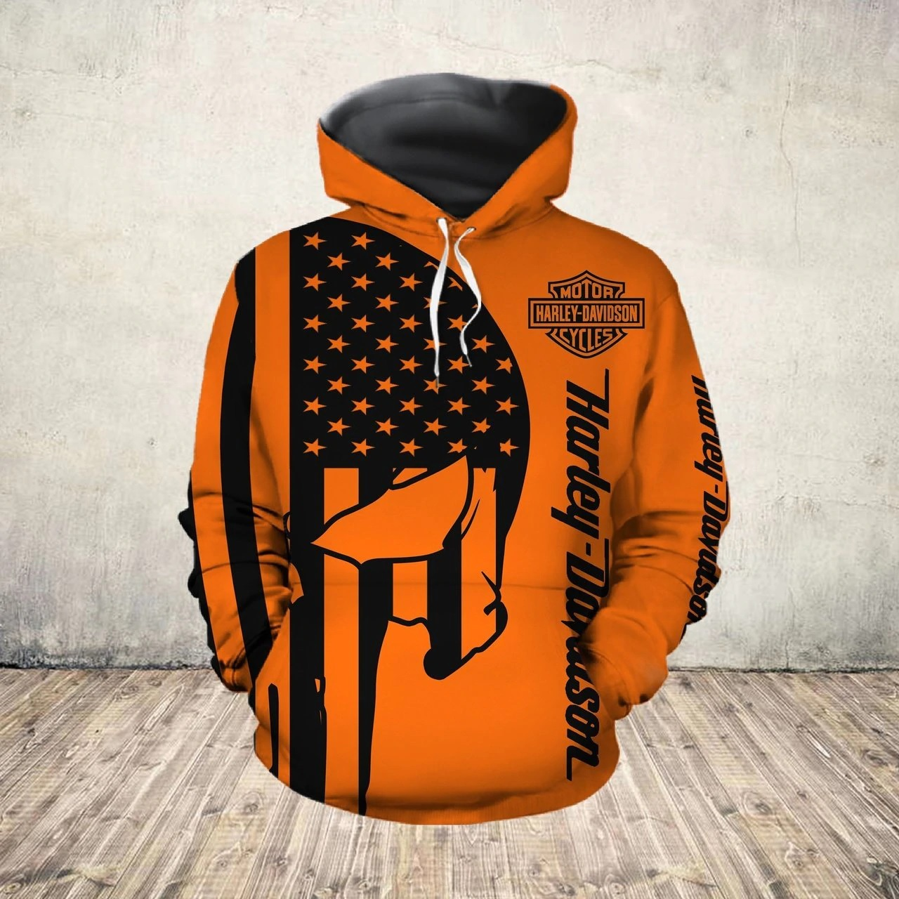 American flag harley-davidson motorcycle skull all over print hoodie - size l