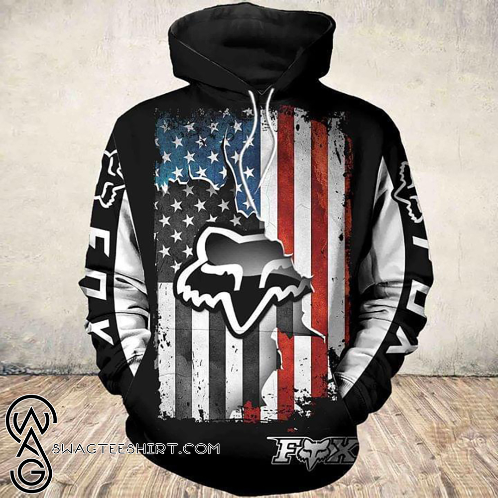 American flag ripped fox racing all over print hoodie