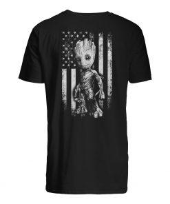 Baby groot american flag mens shirt