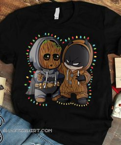 Baby groot and batman lights christmas shirt