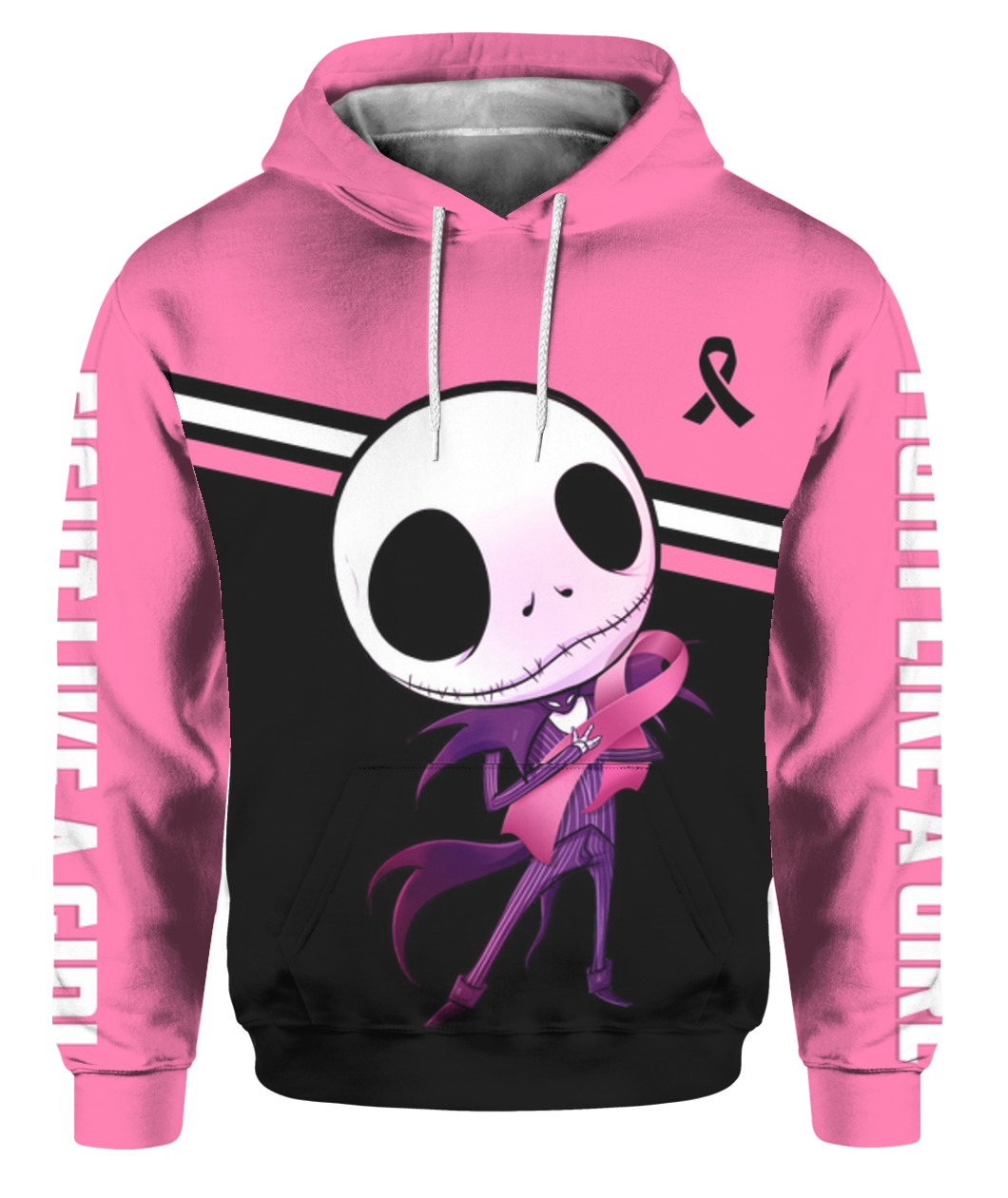 Baby jack skellington hugs ribbon breast cancer awareness all over printed hoodie - front