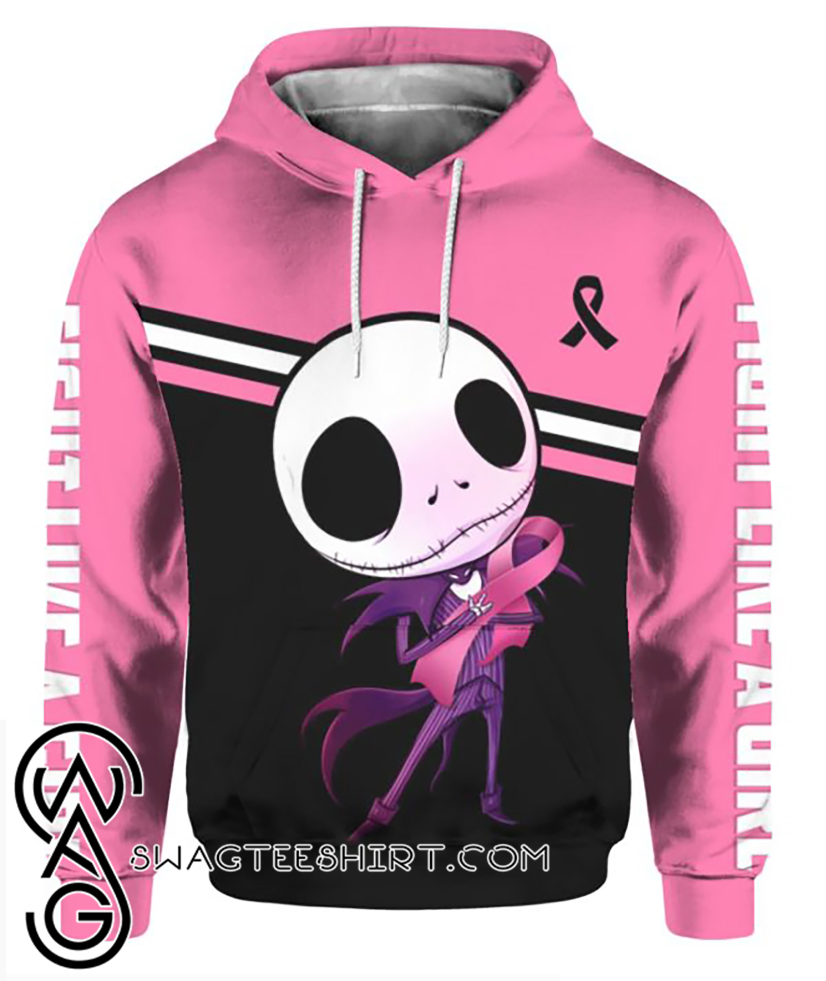 Baby jack skellington hugs ribbon breast cancer awareness all over printed hoodie