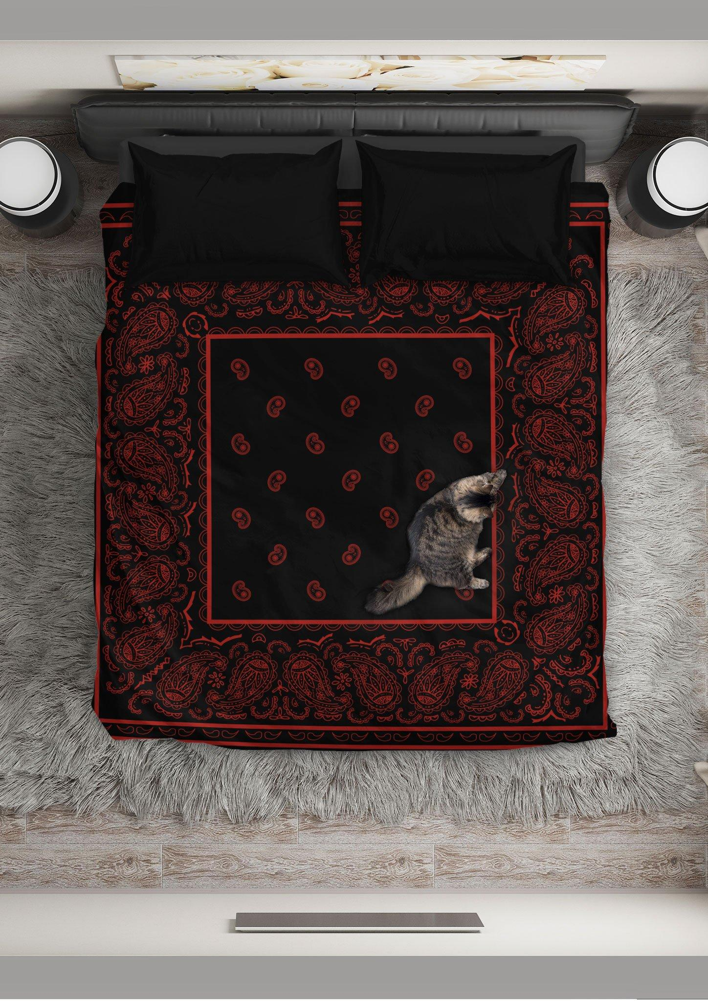 Black and red bandana duvet cover bedding set - queen