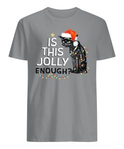 Black cat is this jolly enough christmas lights mens shirt