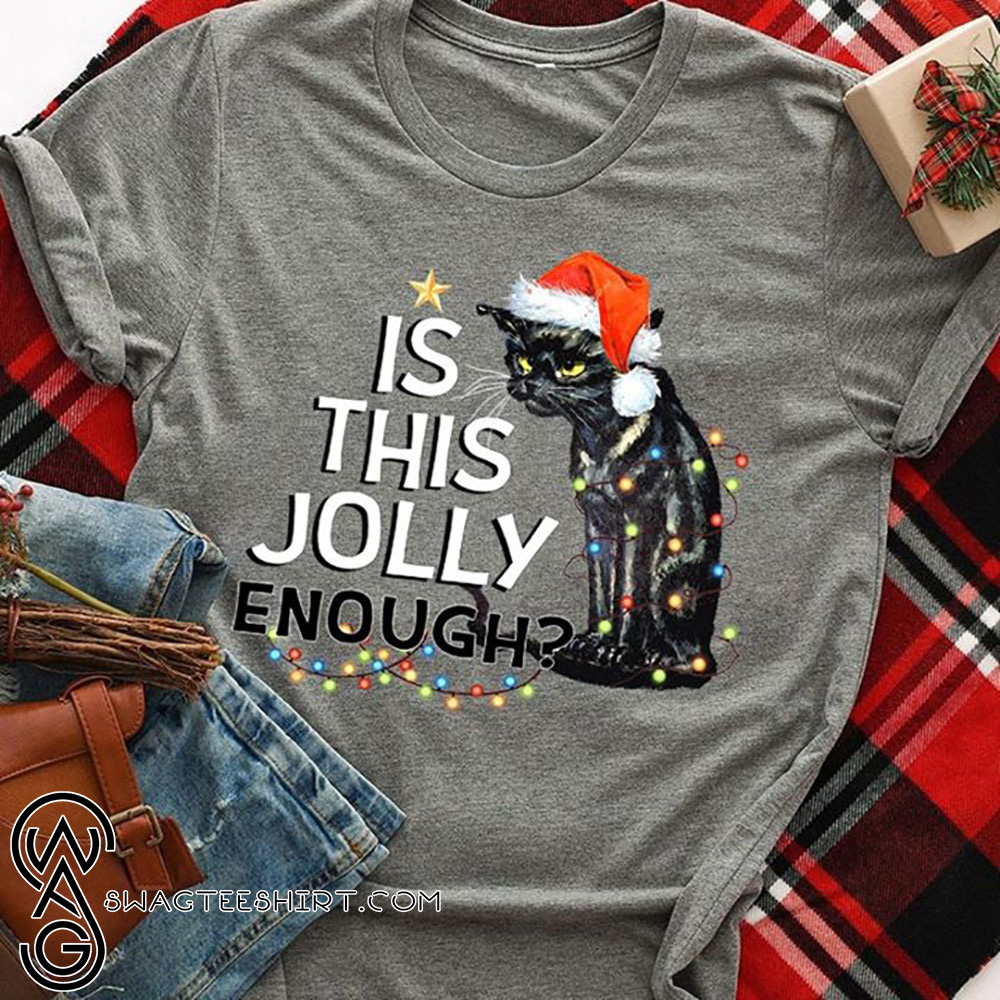 Black cat is this jolly enough christmas lights shirt