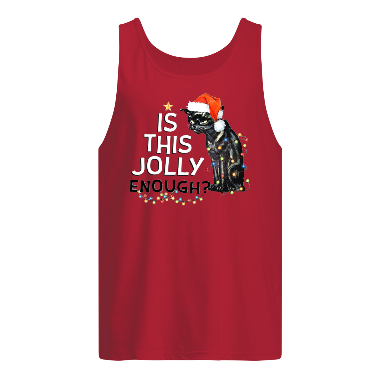 Black cat is this jolly enough christmas lights tank top