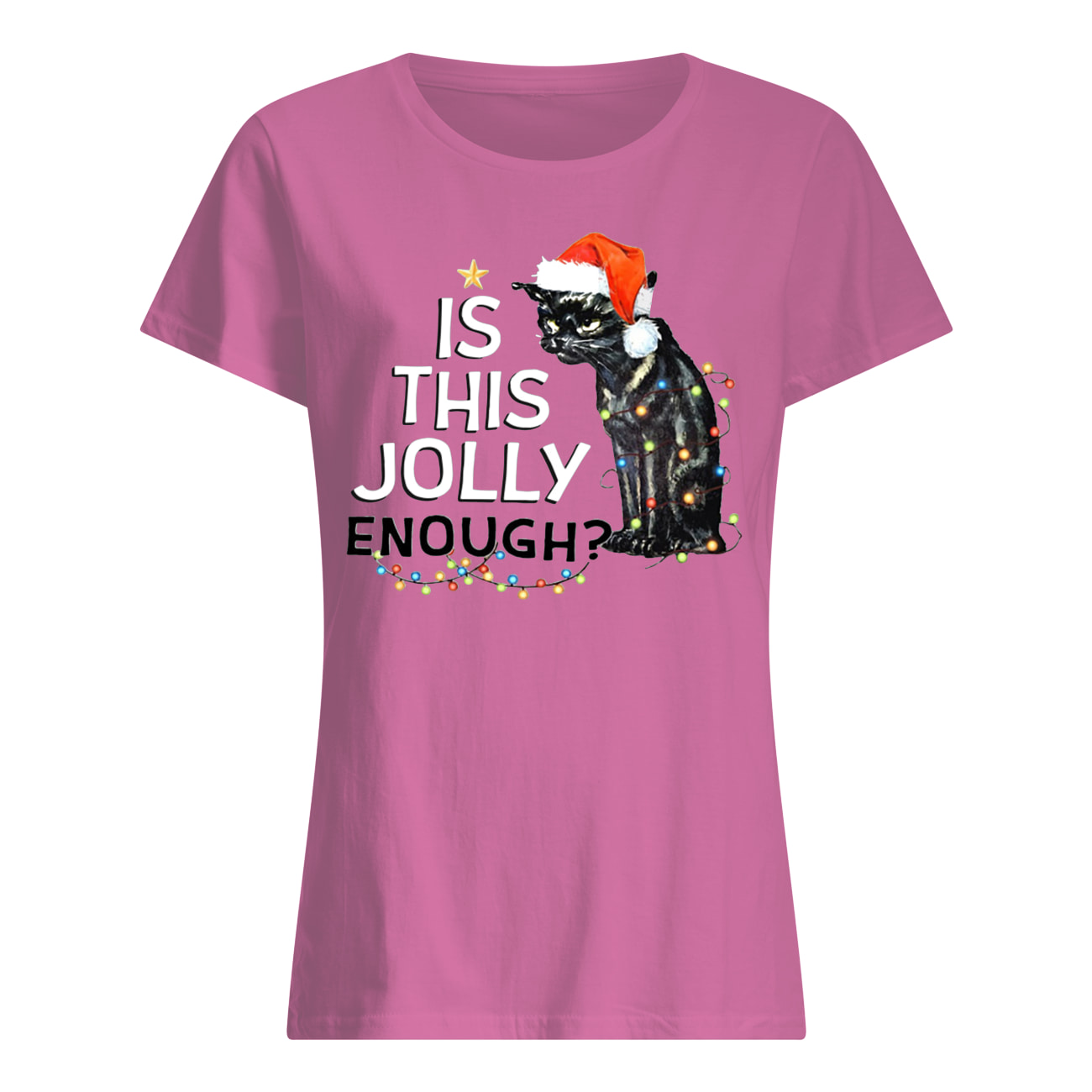 Black cat is this jolly enough christmas lights womens shirt