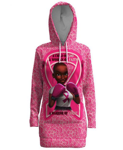 Black girl warrior a child of god a woman of faith a warrior of christ breast cancer awareness 3d hooded dress