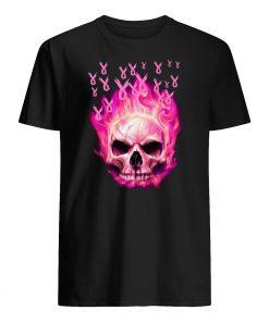 Breast cancer awareness fire skull mens shirt