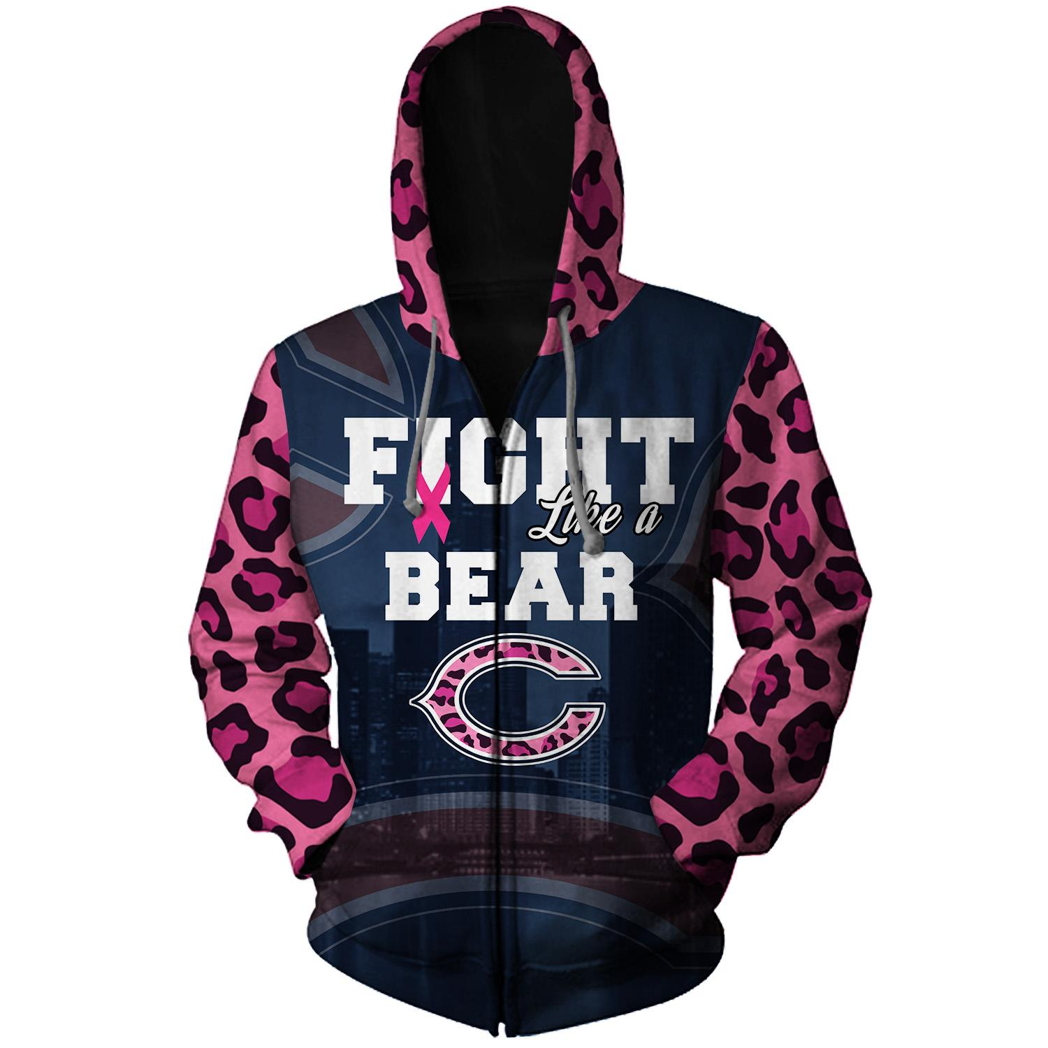 Breast cancer fight like a chicago bears 3d zip hoodie