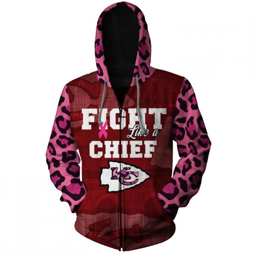Breast cancer fight like a kansas city chiefs 3d zip hoodie
