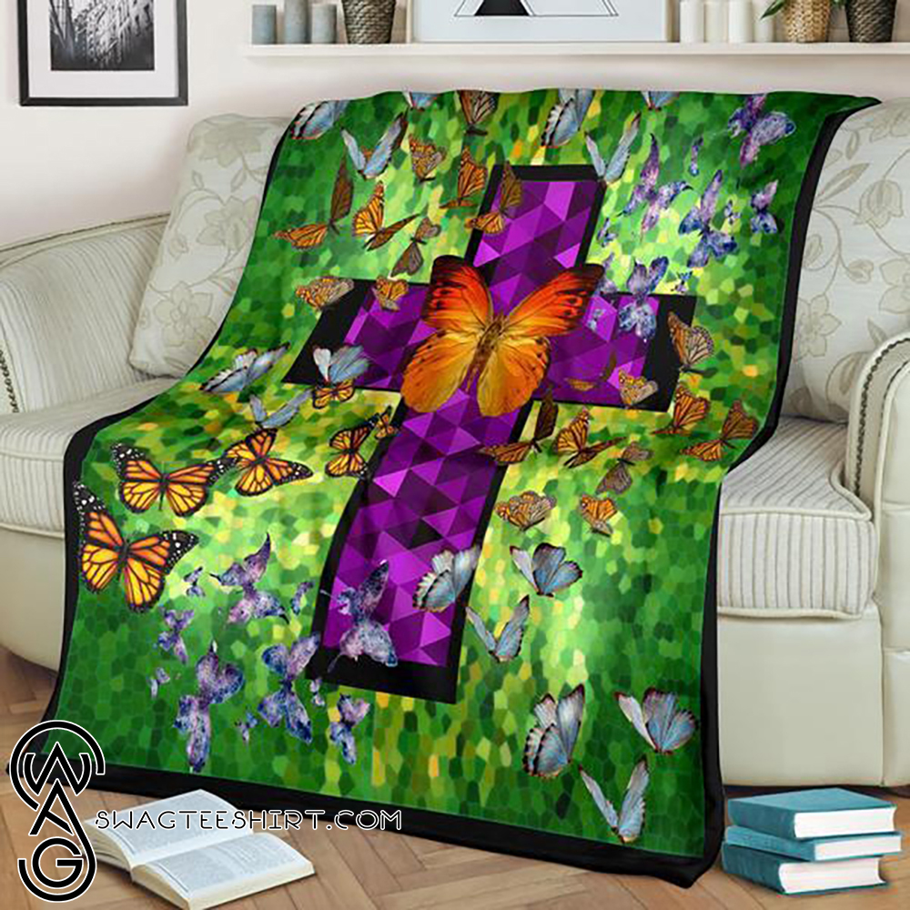 Butterflies in heaven fleece blanket