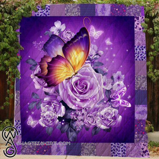 Butterfly and purple flower quilt