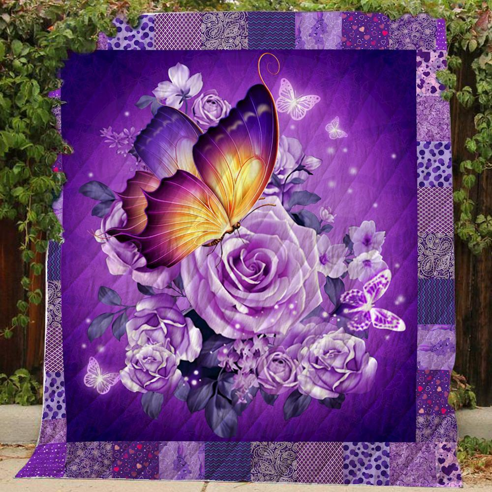 Butterfly and purple flower quilt - queen