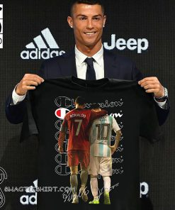 Champion cristiano ronaldo and lionel messi signatures shirt