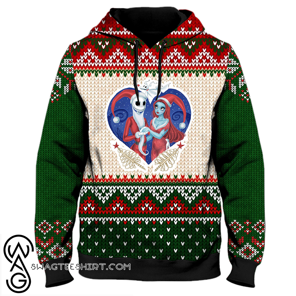 Christmas couple jack and sally ugly christmas all over print hoodie