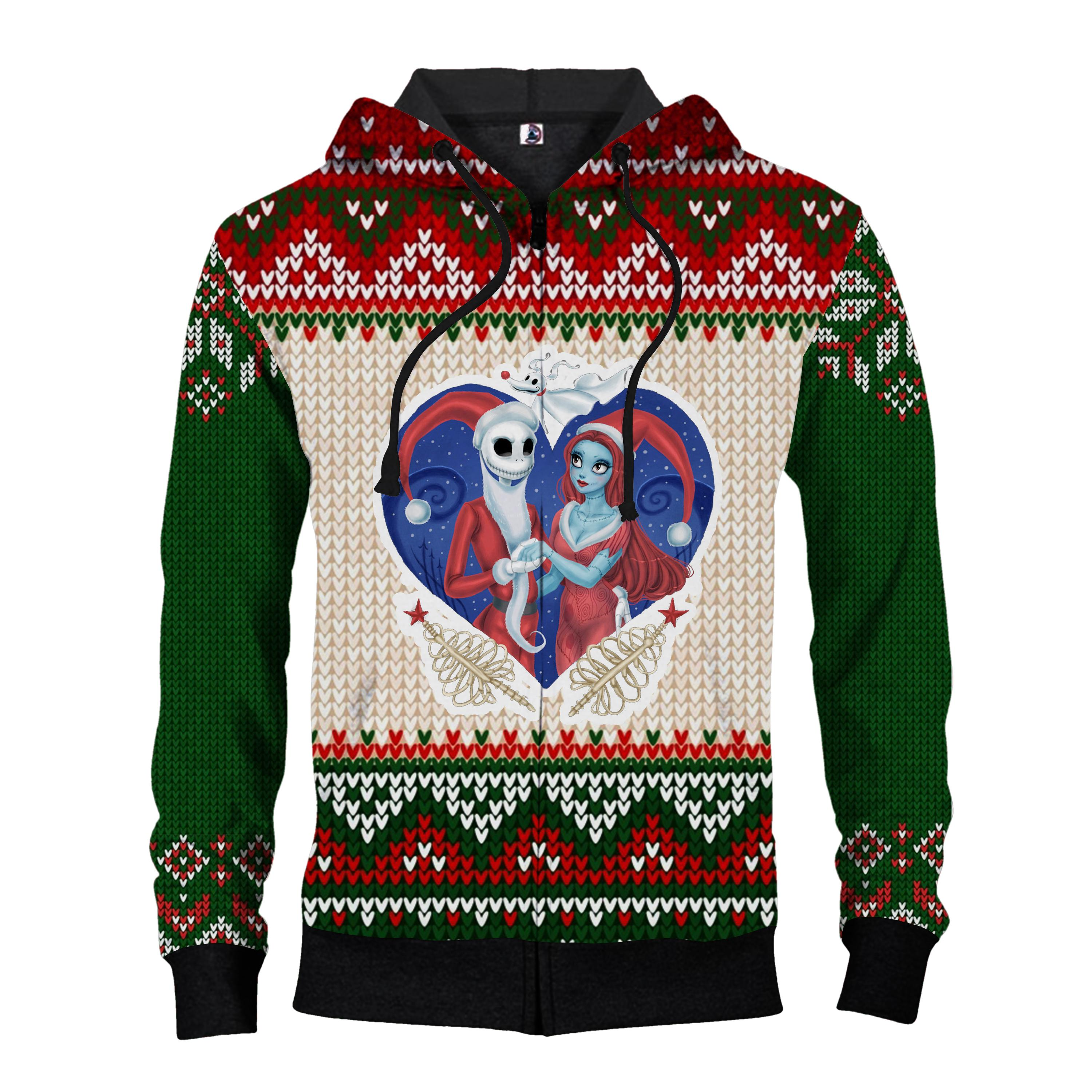 Christmas couple jack and sally ugly christmas all over print zip hoodie
