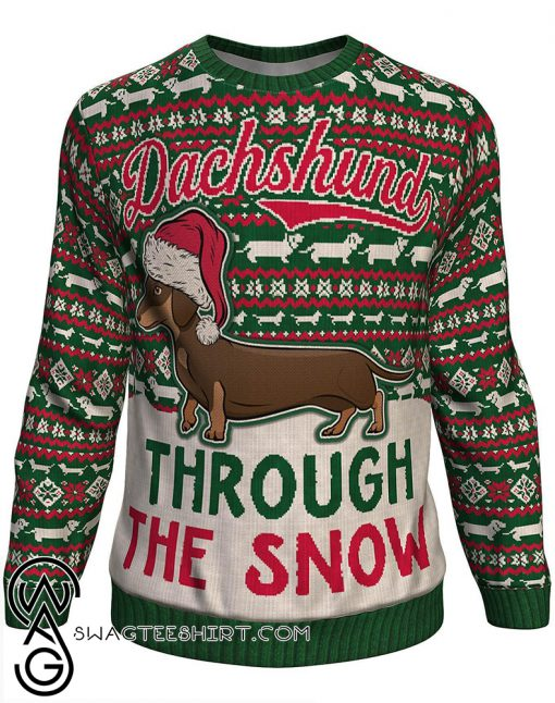 Christmas dachshund through the snow all over print sweater