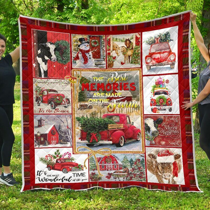 Christmas hallmark the best memories are made on farm quilt - king