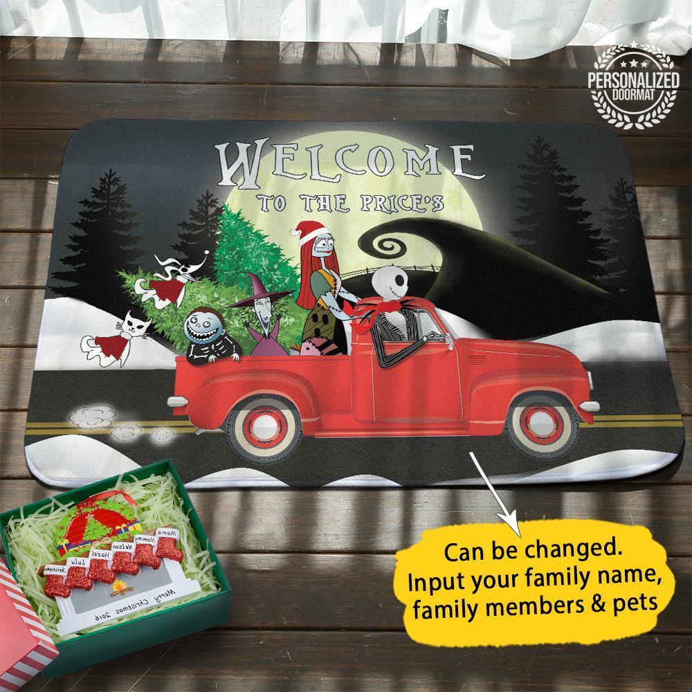 Christmas jack and sally on truck welcome to the robert doormat - black