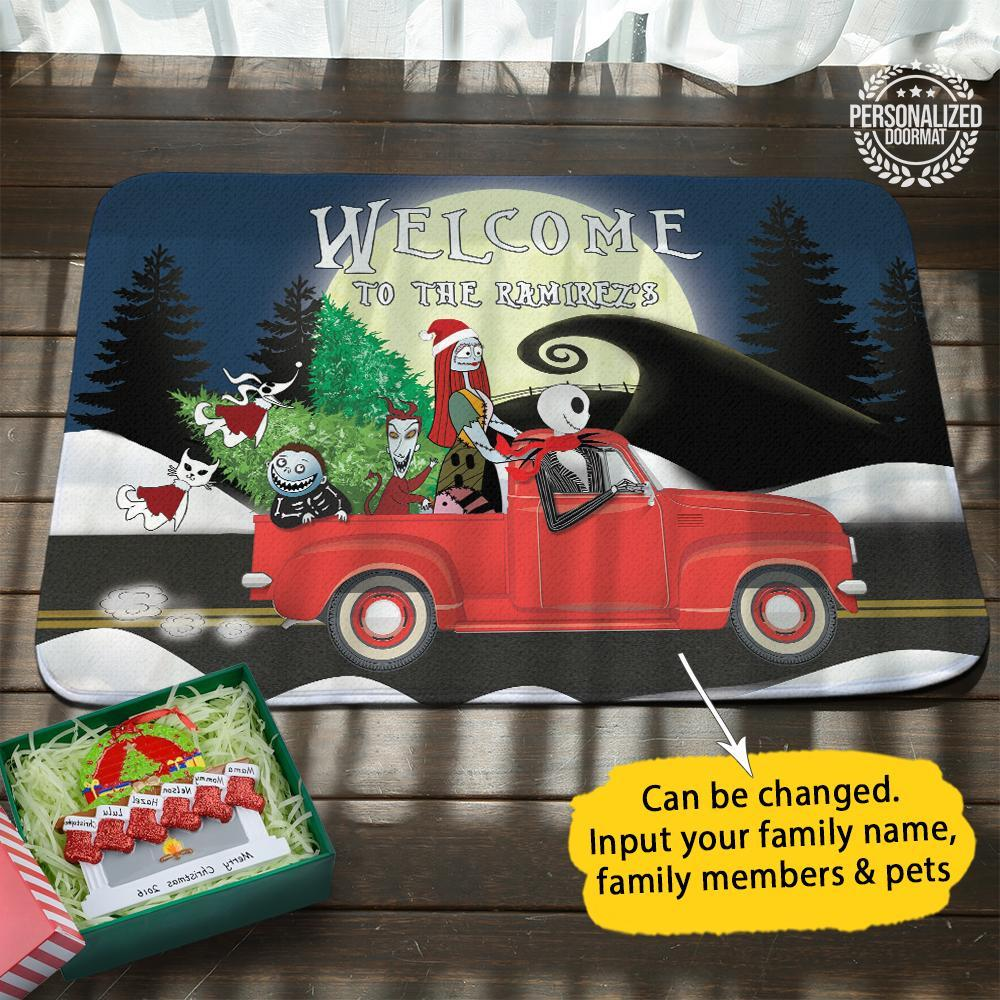 Christmas jack and sally on truck welcome to the robert doormat - navy