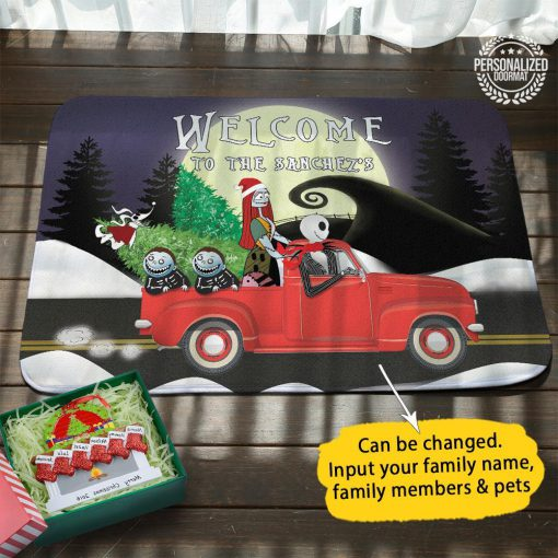 Christmas jack and sally on truck welcome to the robert doormat - purple