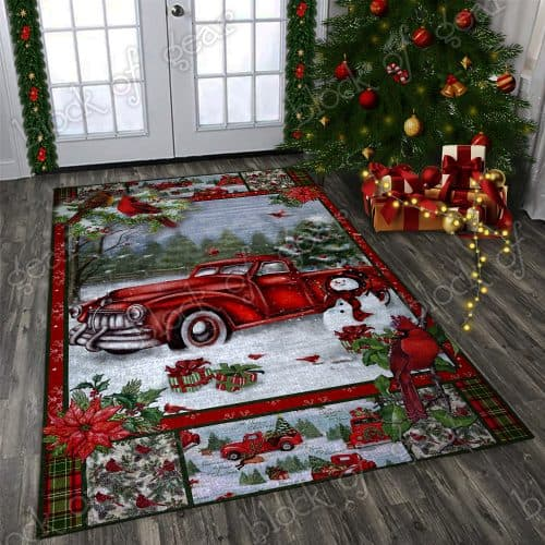 Christmas red truck snowy cardinals living room rug 1