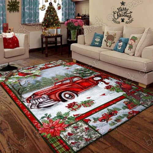 Christmas red truck snowy cardinals living room rug 2