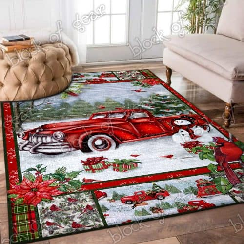 Christmas red truck snowy cardinals living room rug 3