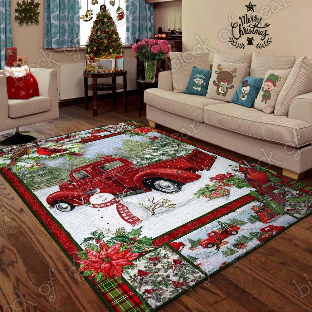 Christmas red truck snowy cardinals living room rug 5x8